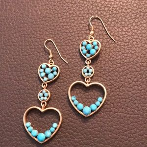 Jewelry - Turquoise and gold double heart drop earrings